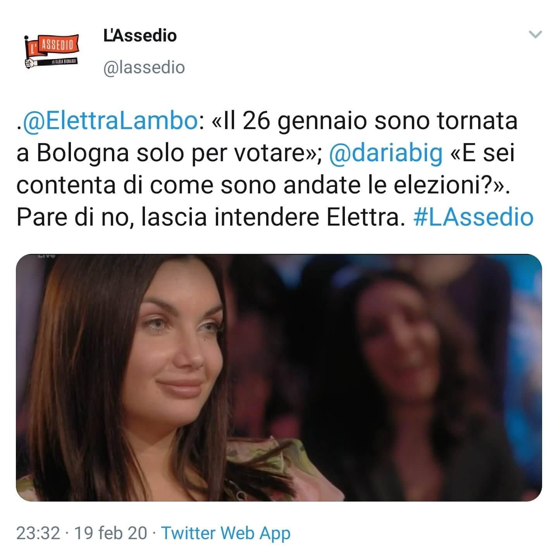 Elettra Lamborghini risponde ad post de L'Assedio di Daria B
