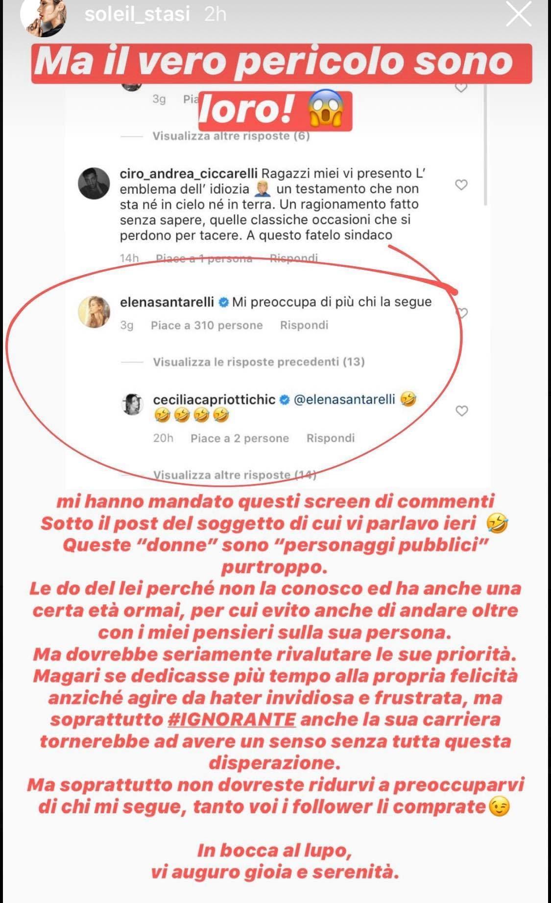 "Faida social tra Soleil ed Elena Santarelli: ""Hater invidios"