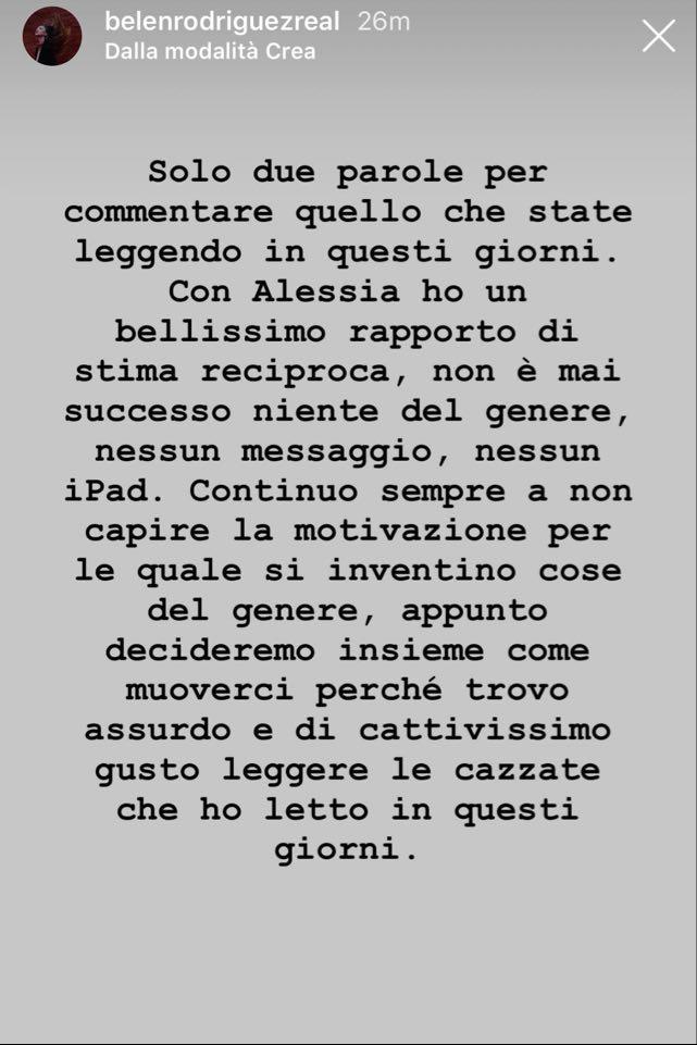 Belen commenta i rumor sul tradimento di Stefano con Alessia Marcuzzi