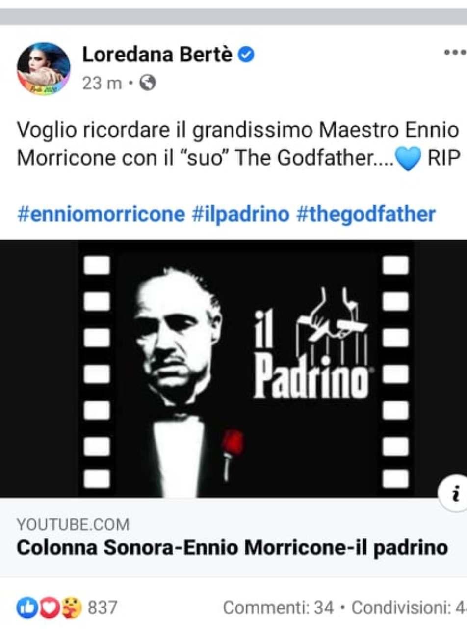 Loredana Bertè ricorda Ennio Morricone, commette una brutta