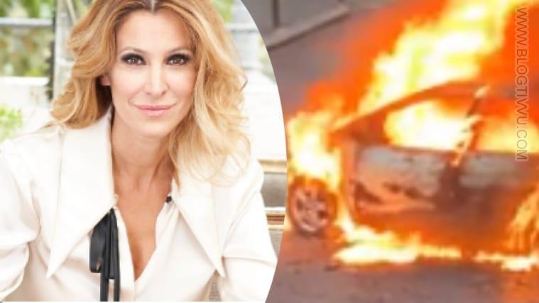 Adriana Volpe, automobile prende fuoco sotto casa sua
