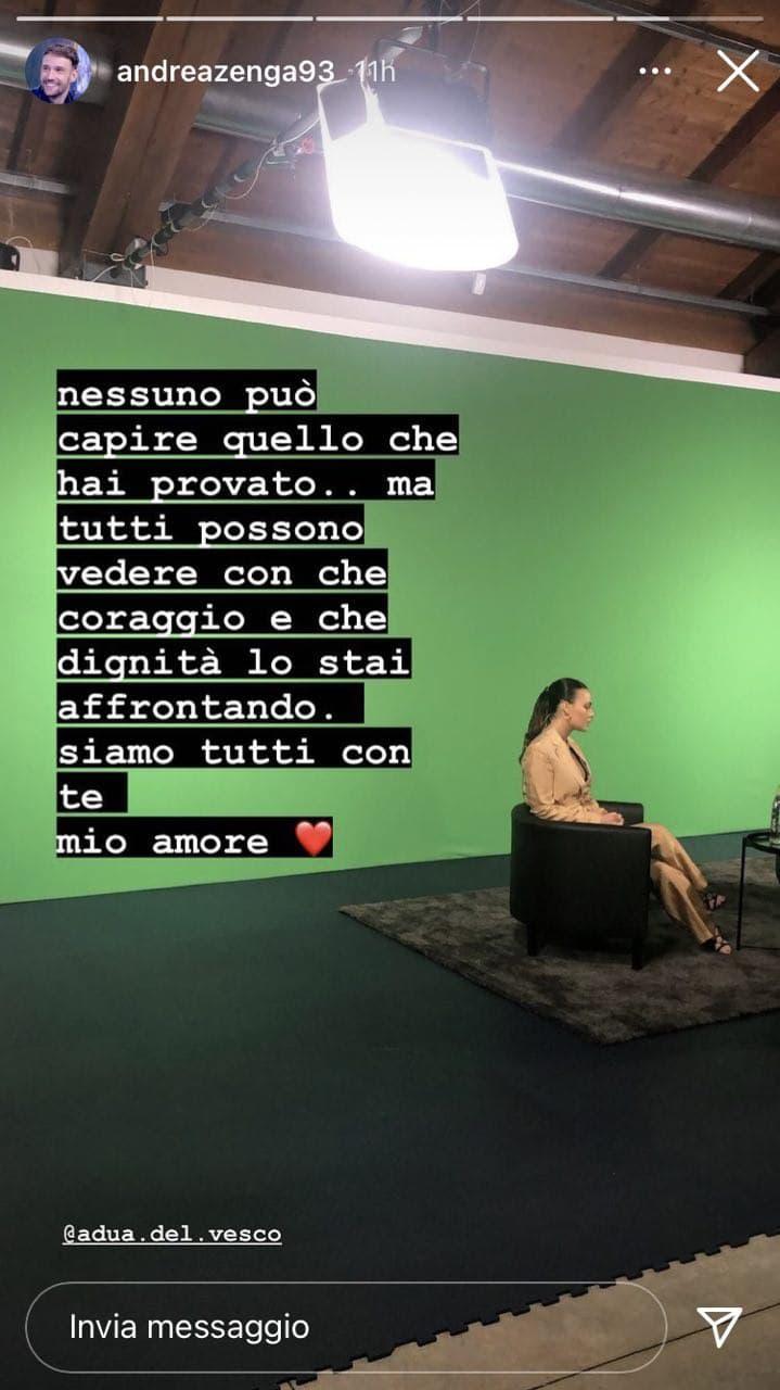 Andrea Zenga, messaggio a Rosalinda Cannavò