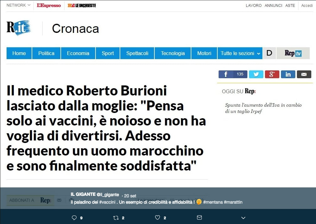 Uno dei falsi screenshot a tema Burioni