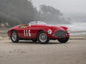 "Immagine di una Ferrari 166 MM ""Barchetta"" in ottimo stato battuta da Sothesby, https://rmsothebys.com/am17/amelia-island/lots/1950-ferrari-166-mm-barchetta-by-touring/1702185"
