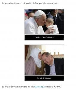 foto fake papa francesco bacia erdogan