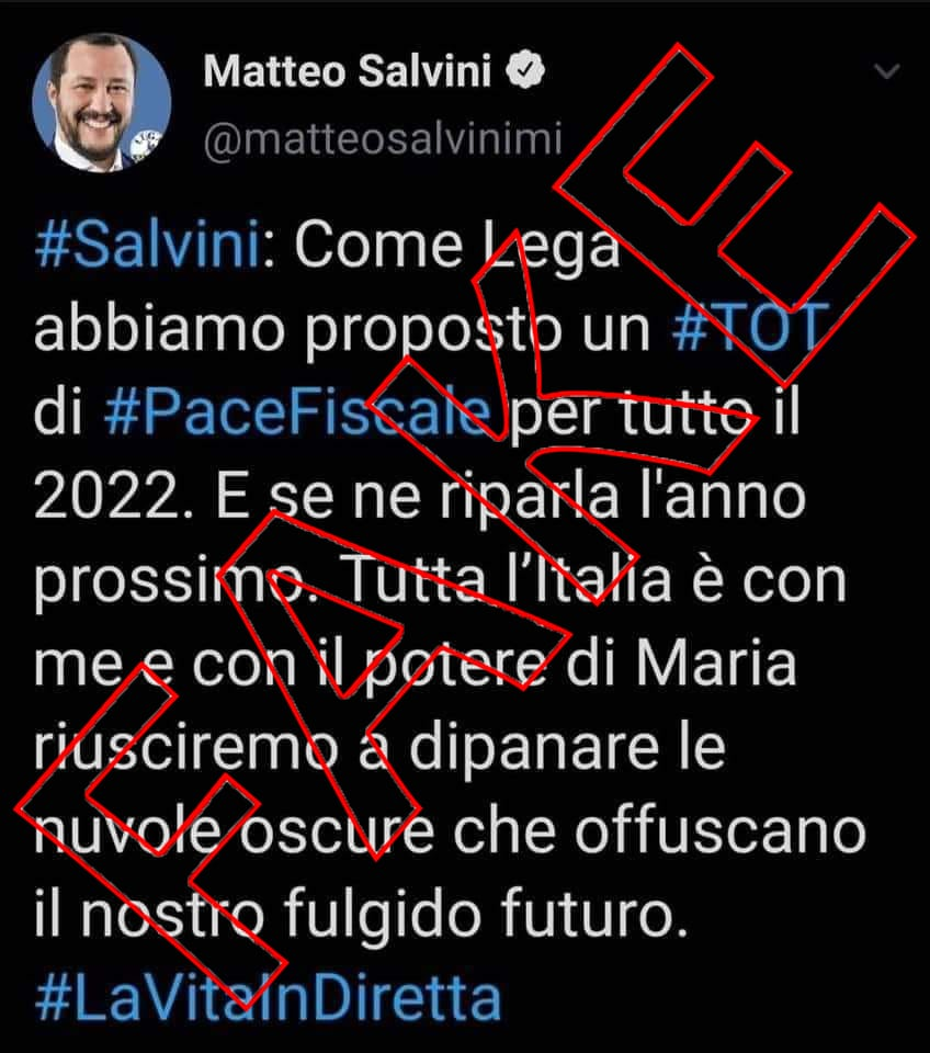 Il falso tweet di Salvini