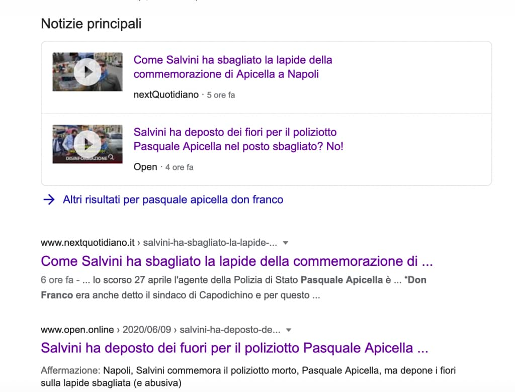 Google riporta la fake news come principale