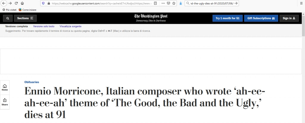 "Washington Post: ""Morto il compositore italiano che scrisse ""ah-ee-ah-ee-ah"""""