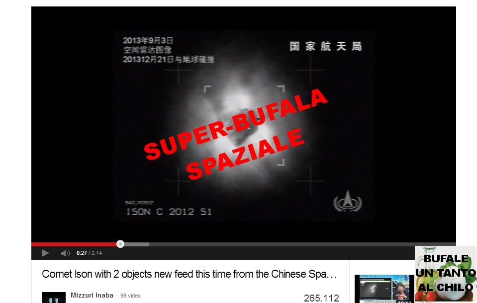 Comet Ison with 2 objects new feed this time from the Chinese Space Radar YouTube