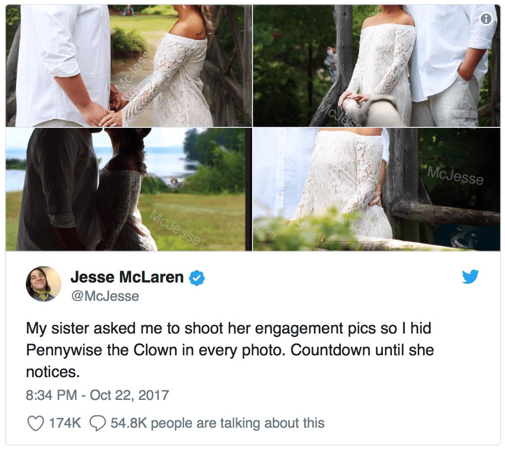 Il post di Jesse McLaren sul photoshop di Pennywise