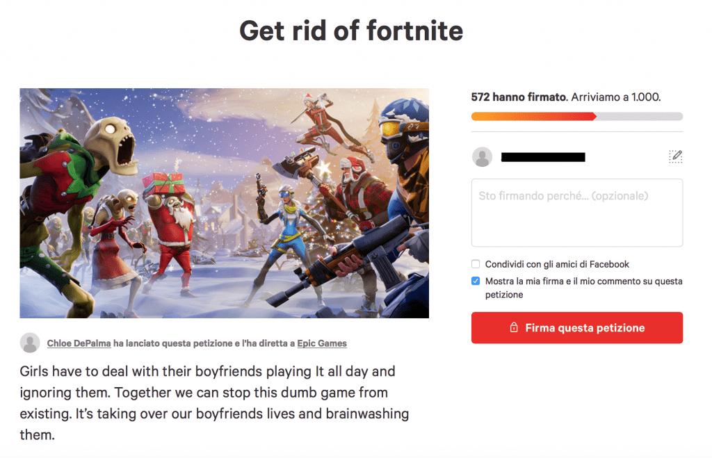 Una petizione contro Fortnite