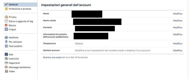 quali dati conosce facebook cancellare dati stalking ex