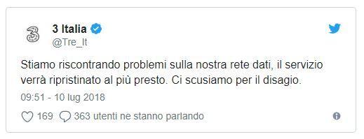 10 luglio giornata incasinata per chi ha 3 Italia Molti problemi di rete su tutto il territorio italiano succede anche a voi