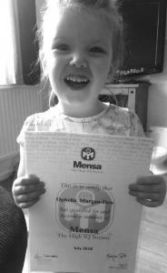 Ophelia con l'ammissione al MensaOphelia con l'ammissione al Mensa