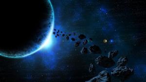 Rappresentazione di asteroidi nello spazio