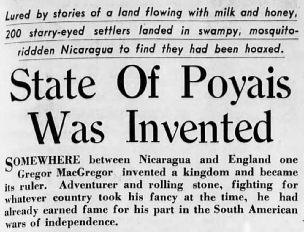 Il Poyais: un paese inventato