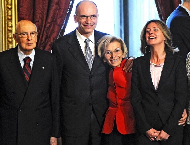 Giorgio Napolitano, Enrico Letta, Emma Bonino e Beatrice Lorenzin