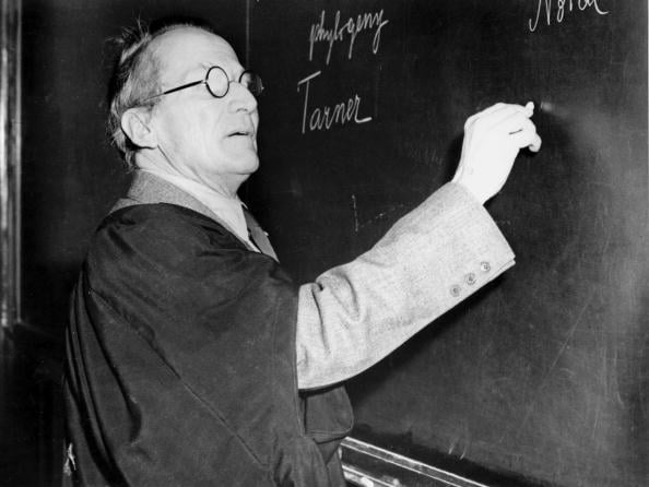 Erwin Schrodinger, Austrian physicist, lecturing at the blackboard, c 1950.