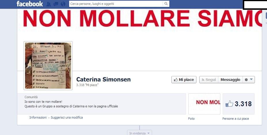 La pagina in sostegno di Caterina Simonsen. Ha oltre 3 mila iscritti