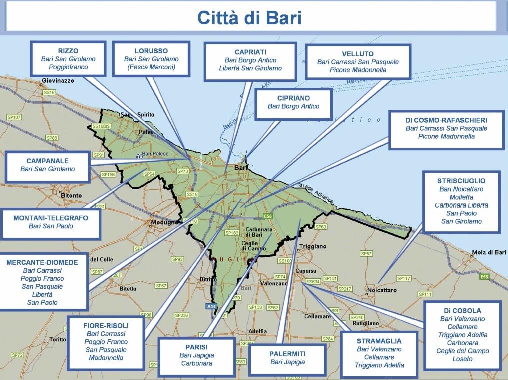 mappa mafia 12 bari