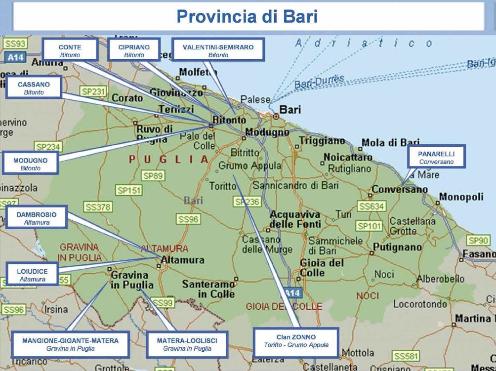 mappa mafia 13 bari