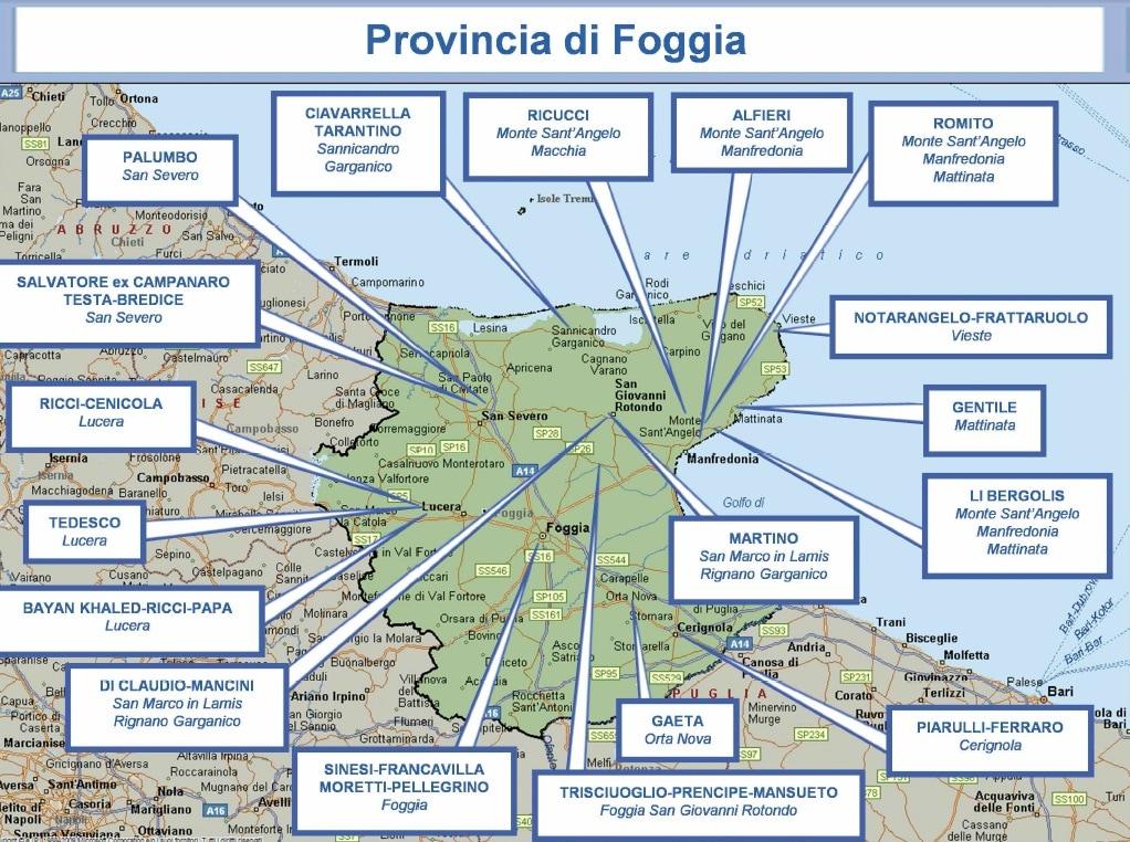 mappa mafia 15 foggia