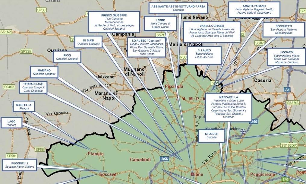 mappa mafia ndrangheta camorra
