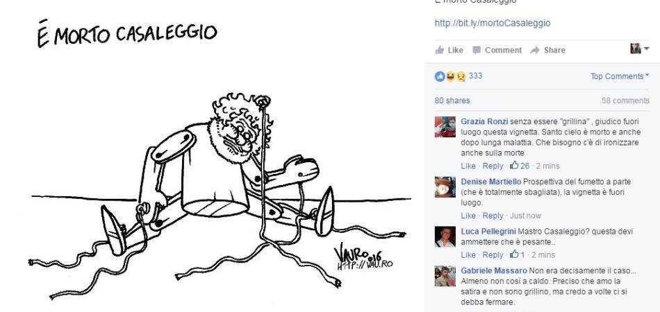 morte Gianroberto Casaleggio morto vignetta vauro