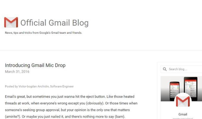 pesce aprile 2016 google gmail mic drop