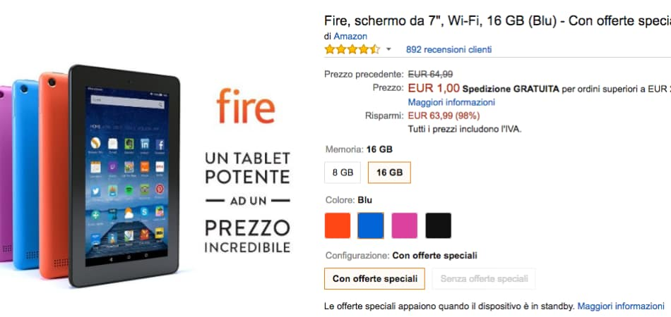 best price good out x outlet Kindle Fire 1 euro: Amazon si scusa per l'errore, ma è polemica