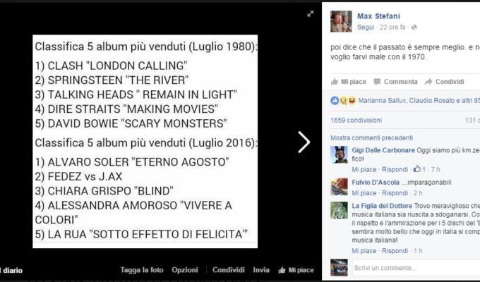 Bufala hit parade luglio 1980 2016 Facebook