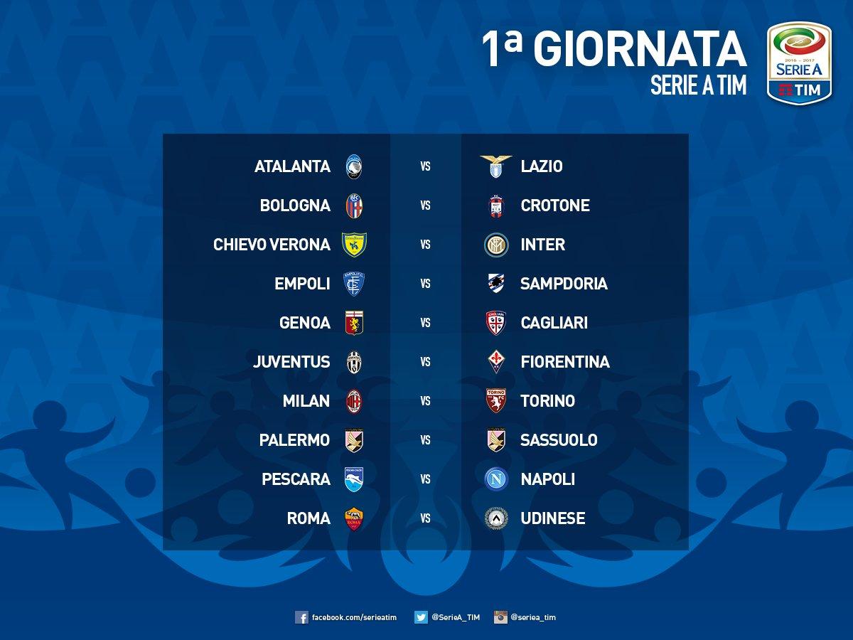 Calendario Serie A E Orari Delle Partite.Calendario Serie A 2016 2017 Date Orari Anticipi