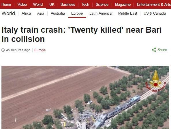 giornali stranieri incidente treni puglia