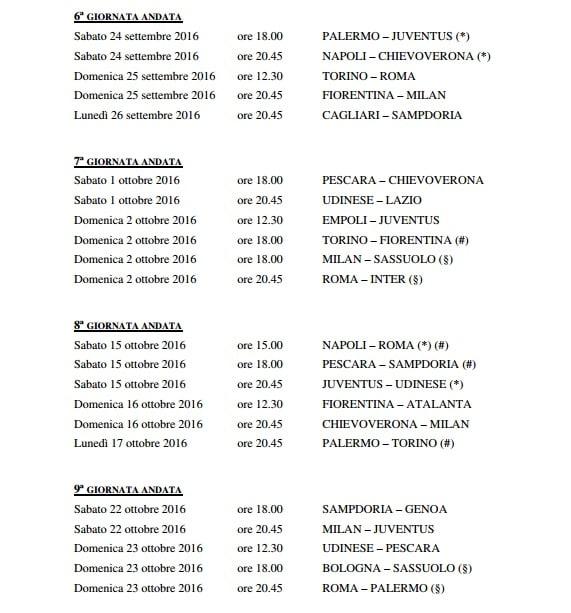 Calendario Serie A 16 Ottobre.Anticipi Posticipi Serie A 2016 2017 Date Orari Giornate