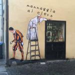 papa francesco murale fotomontaggio