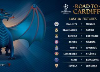 Sorteggio Ottavi Champions League Juventus e Napoli