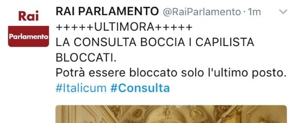 tweet rai parlamento
