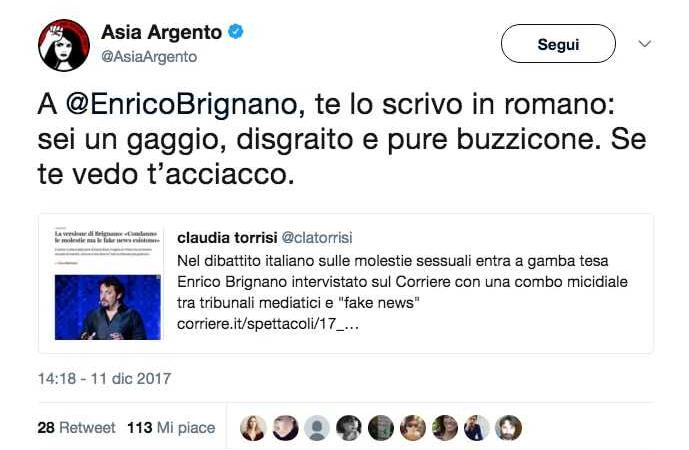 Asia Argento contro Enrico Brignano