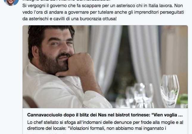 Salvini difende Cannavacciuolo