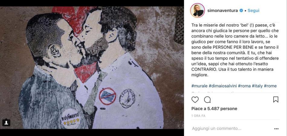 Simona Ventura murale Di Maio Salvini