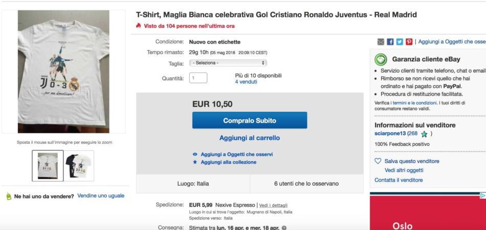 maglietta rovesciata Cristiano Ronaldo