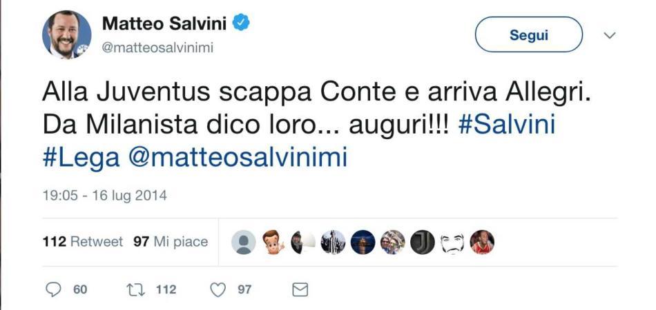 Salvini criticava Allegri