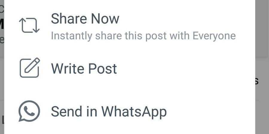 post Facebook su WhatsApp