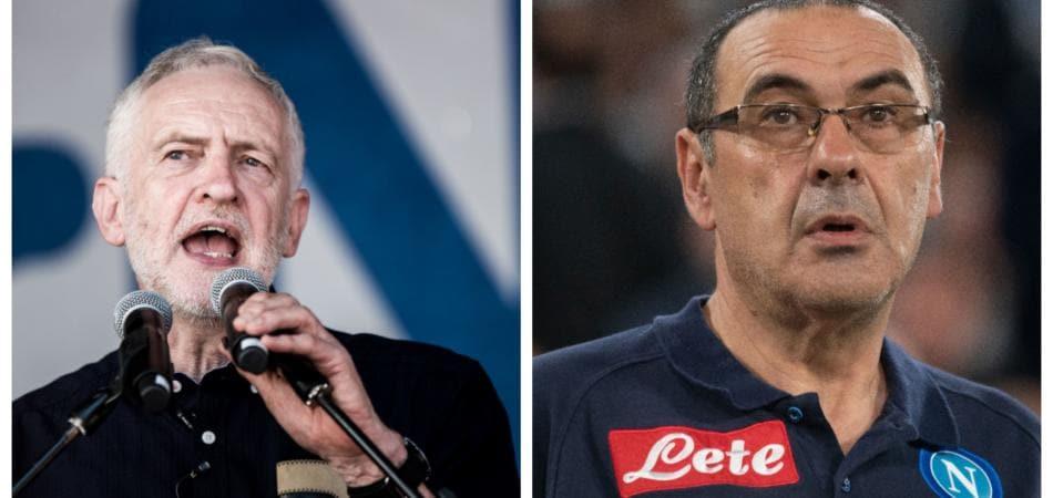 Maurizio Sarri e Jeremy Corbyn