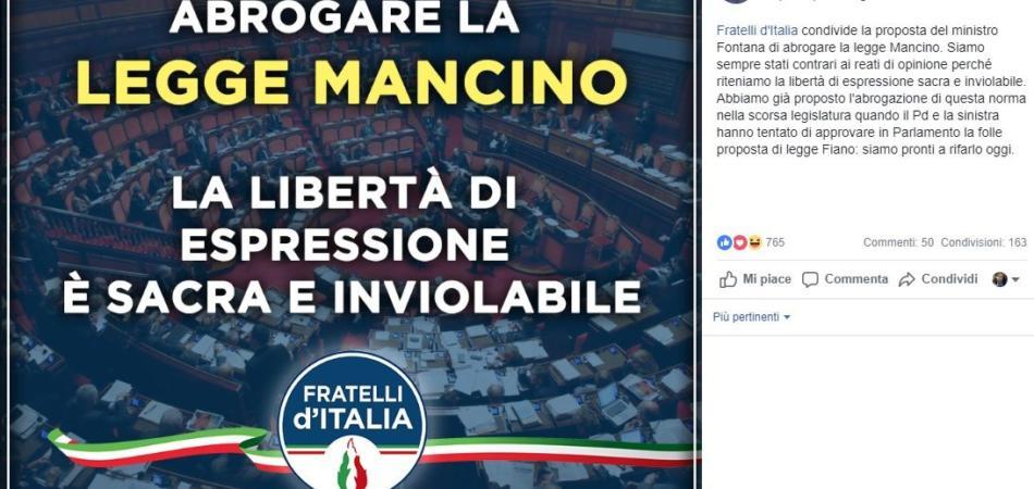 Abolizione legge Mancino, il post di Giorgia Meloni su Facebook