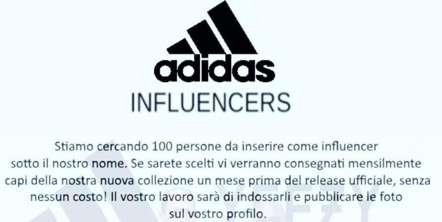 adidas influencer bufala