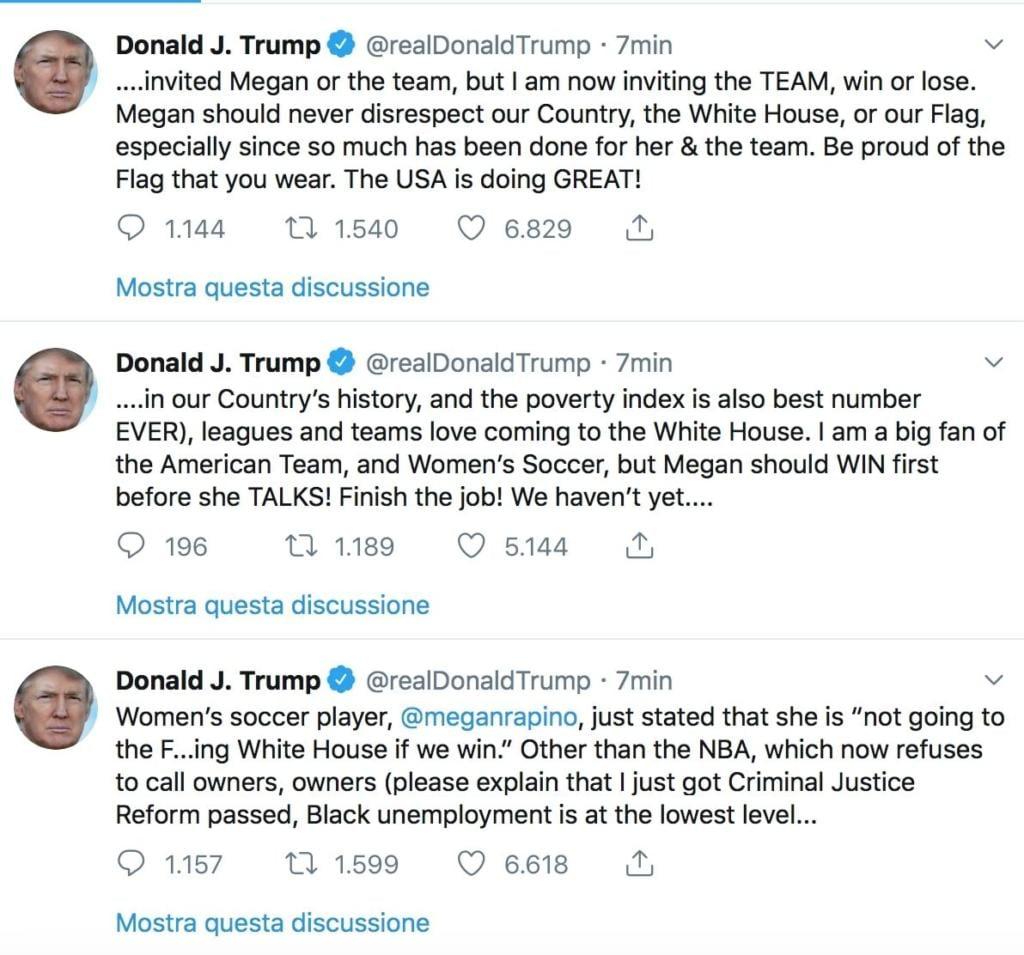 Mondiale femminile, Rapinoe non canta l'inno e fa infuriare Trump
