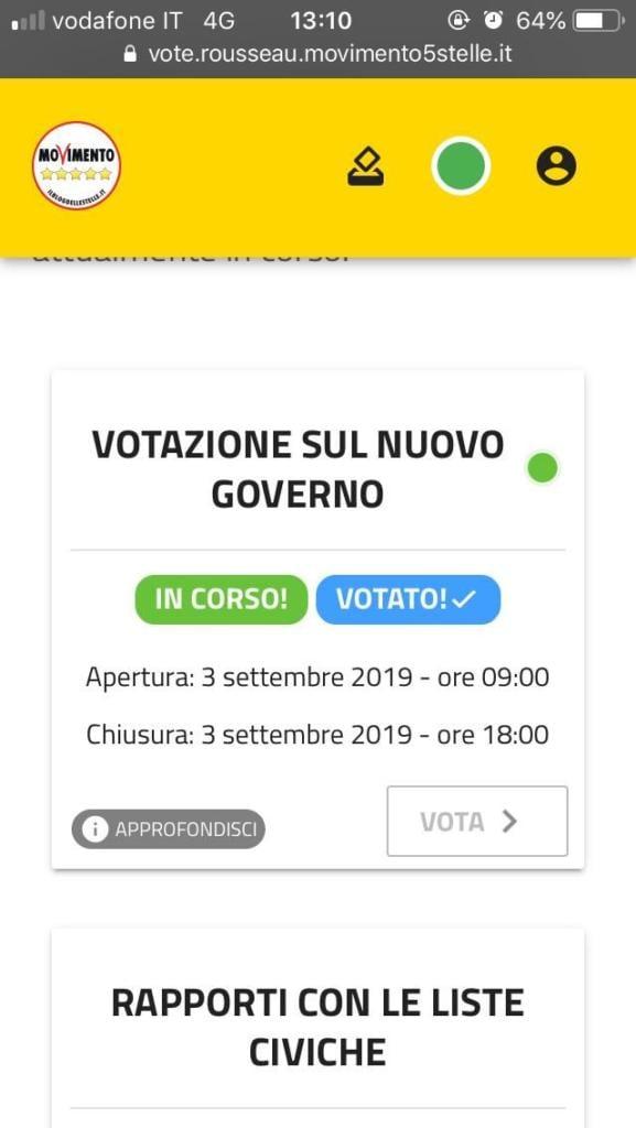 votazione Rousseau