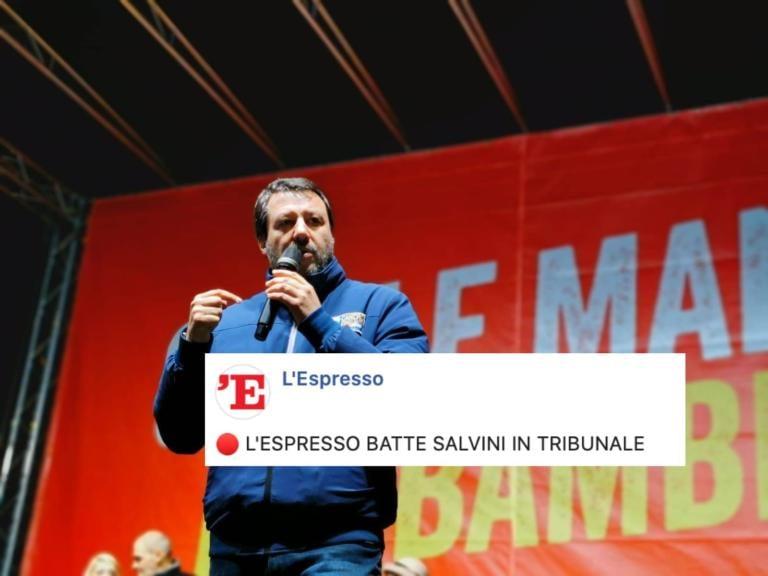 I giudici danno ragione a L'Espresso contro Matteo Salvini: