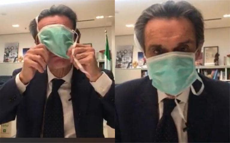Attilio Fontana dice che quella mascherina «non è sbagliata» |  ma è«l'unica che ci resta»